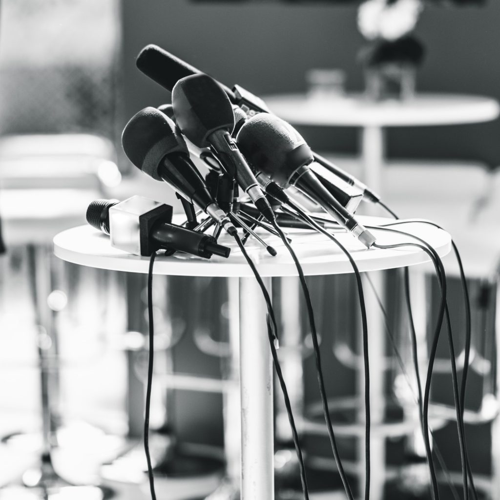 Press conference microphones